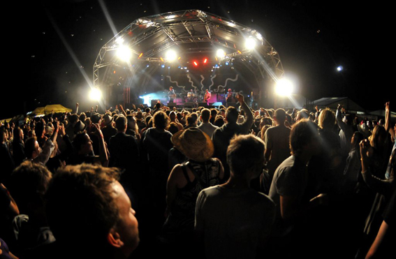 The main stage at Wychwood at night
