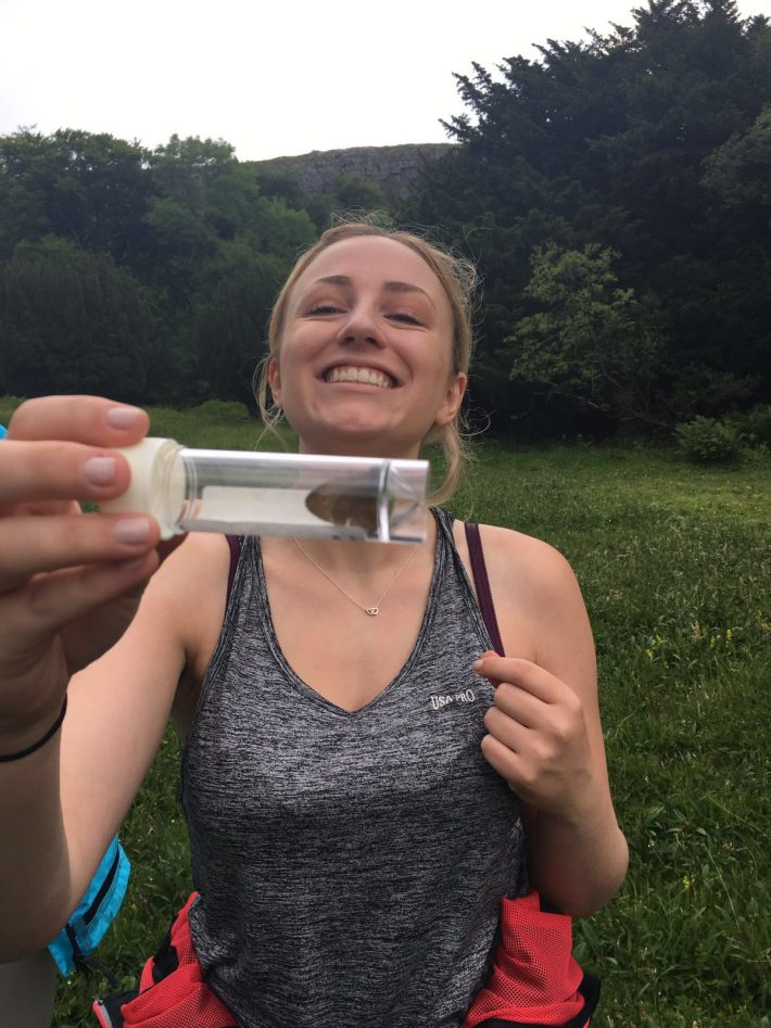 Becky catches her first butterfly