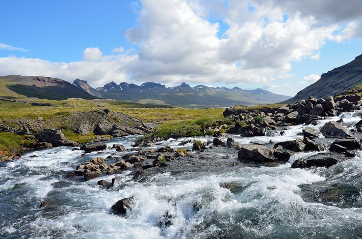 upland river with mountains