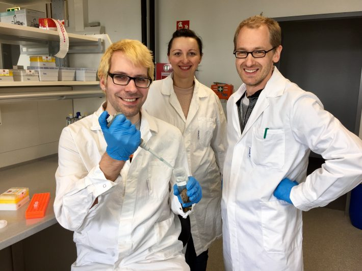 Vasco Elbrecht, Edith Vamos und Florian Leese (left to right) are working to assess water quality of Finnish streams with DNA-based methods.