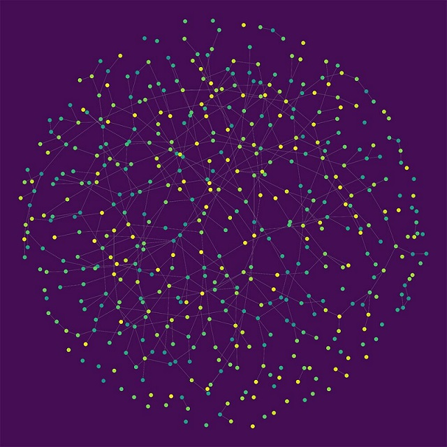 Hundreds of dots linked to other dots through lines
