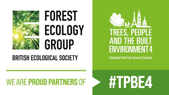 The logo of the Forest Ecology Special Interest Group, which is an upward view of a forest, appears next to the conference logo, which is a while silhouette of two trees, two adults with a young child, the eiffel tower, big ben, and St Peter's Basilica