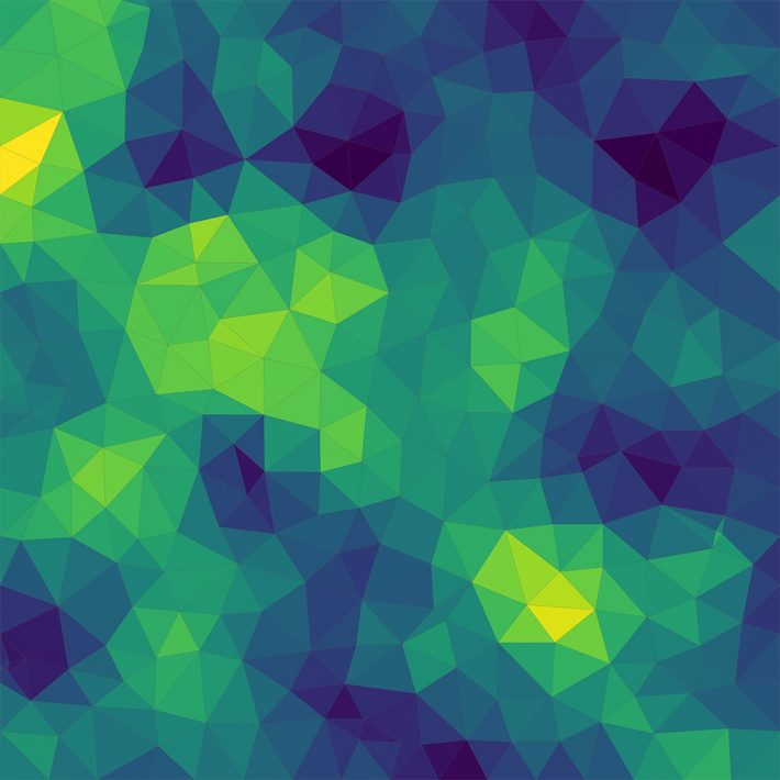 An image made up entirely of triangles of different shades of blue and green, with all of the triangles joined together