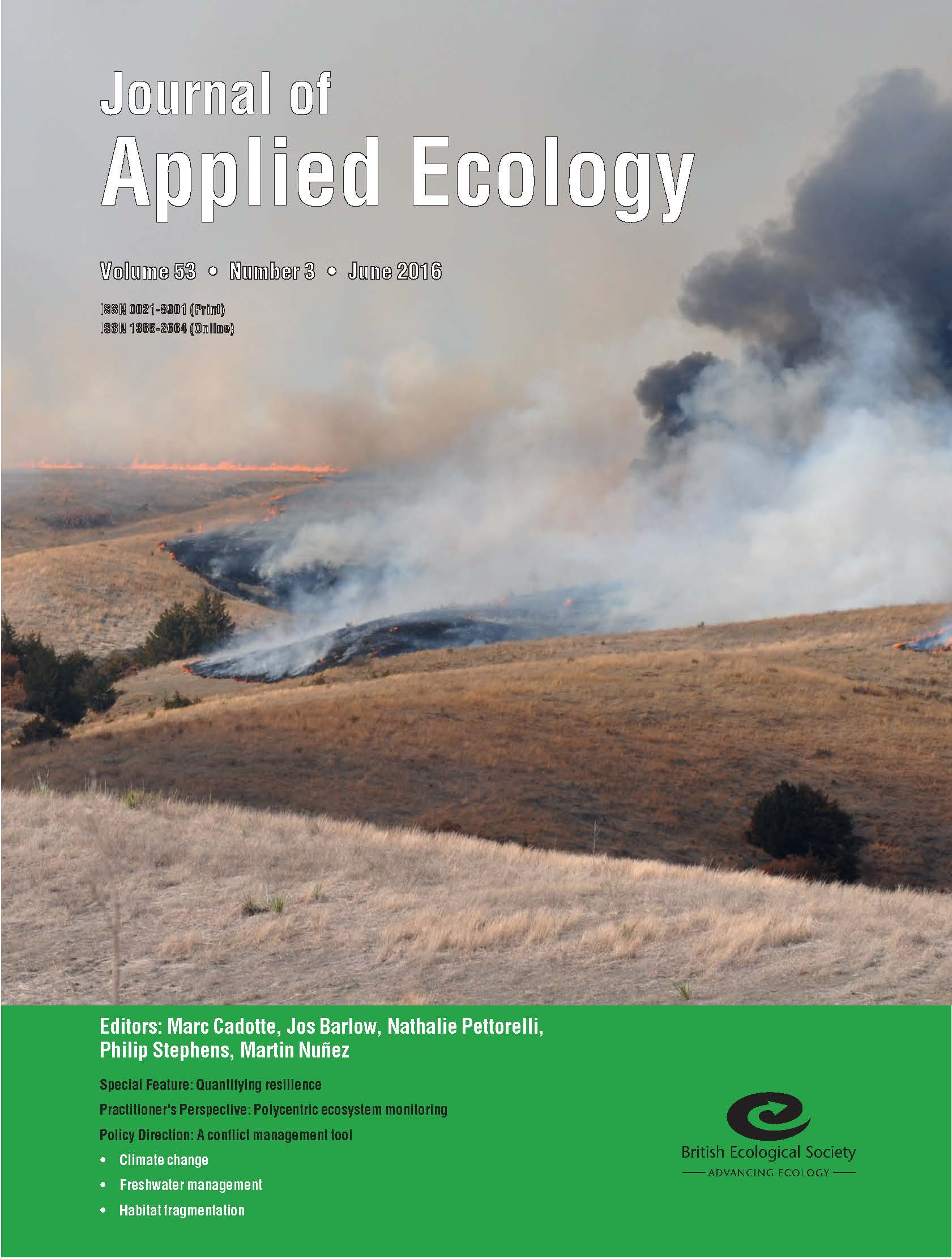 Cover of Journal of Applied Ecology