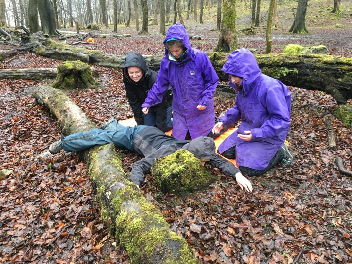Outdoor First Aid Training at Malham Tarn FSC with Catie Gutmann Roberts, Phoebe Whitehead, Paula Tierney and Kim Simpson