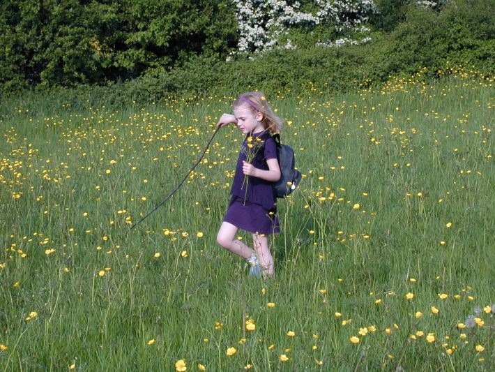 child outdoors with buttercups